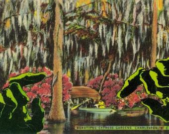 Original Collage, Funny Monster Artwork, Horror Art, Cartoon Decor, Kitsch Travel Souvenir, Kitschy Postcard