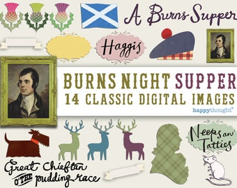 14 High resolution Burns night supper digital scrapbooking images. Instantly download Burns night digital .jpeg images by Happythought.