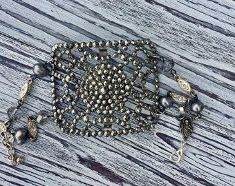 Vintage Steel Cut Buckle Rhinestone Religious Bracelet Paris Assemblage