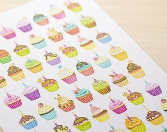 Cupcake Watercolor Planner Stickers (Inkwell Press, Erin Condren, Plum Paper, Fliofax, Kikki K, Happy)