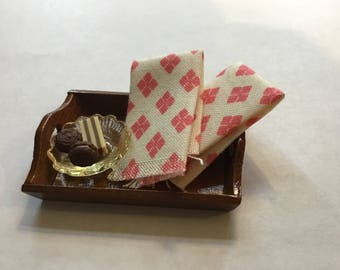 Dollhouse Miniature Set of (2) Coral & White Dish Towels 1:12 Scale