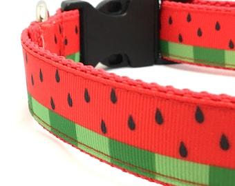 Watermelon Dog Collar   Watermelon Step In Harness and Leash   Personalized Dog Collar   Summer Dog Collar
