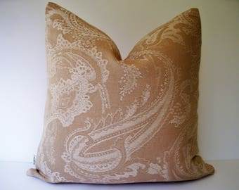 Tan Pillow Cover, Neutral Pillow Cover, Taupe Pillow Cover Tan Paisley Pillow O