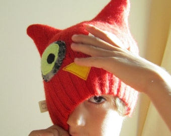 Recycled Felted Wool Red Owl Kids Hat