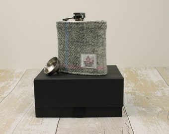 Hip Flask Groomsmen Gifts Best Man Gifts Wedding Flask Harris Tweed Flask Wedding Hip Flask Fathers Day Gift Gifts for Him Grey