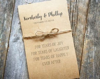 Wedding Tears of Joy Packets Ceremony Tissue Packets Personalized with Name and Date
