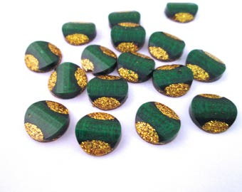 10 12mm Green and Gold Resin Glitter Cabochons, mixed color cabs H178