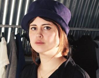Handmade split brim cotton twill hat - Indigo