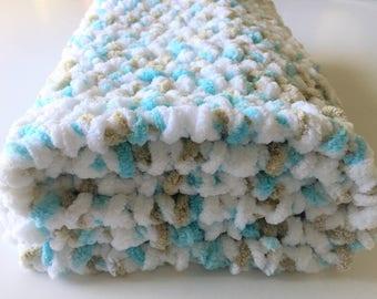 Crochet Baby Blanket, Handmade Blanket, Aqua Baby Blanket, Crochet Blanket, Baby Blanket, Stroller Blanket, Newborn Photo Prop Free Shipping