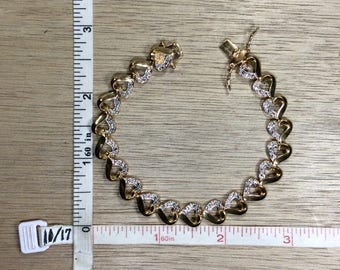 "Vintage 7.25"" 925 Sterling Silver 11.8g Gold Washed Bracelet Hearts Used"
