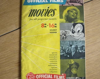 Vintage Official Films Inc Catalog / Magazine for 8mm and 16mm Silent Sound Movies for all Projectors – Rare 1948-49