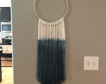 Handmade dip-dyed yarn wall hanging