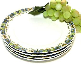 Four Union Ceramique Limoges Salad/Dessert Plates Butterflies