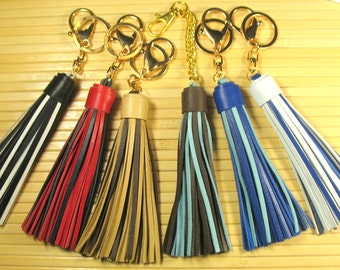 Two-tone leather tassels for handbags Purse tassel Handbag tassel Decoration for leather bag Bag tassel Leather key tassel Boho tassel charm