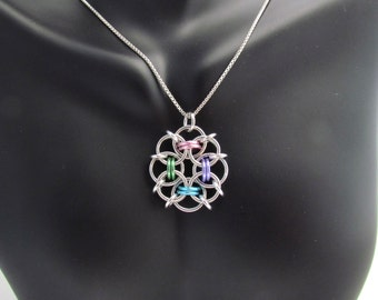 Chain Mail Pendant, Pastel Jewelry, Multicolor Necklace, Jump Ring Jewelry, Pastel Pendant