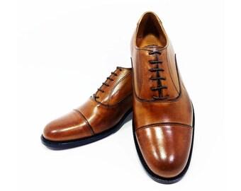 Shoes OXFORD NAPOLEON BRANDY made in Italy, italian handmade