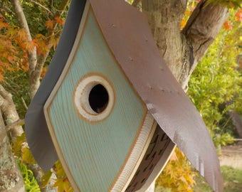 HAINT BLUE BIRDHOUSE / Modern Birdhouse / Mid-Century Modern Birdhouse