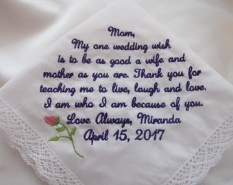 Wedding Handkerchief Embroidered for Mother of the Bride.  Very popular verse or personalize with your own 40 words.