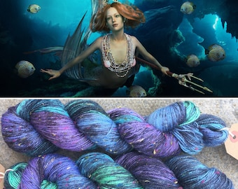 Mermaid Donegal Sock, speckled merino yarn with rainbow neps