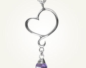 Mini Heart Necklace with Amethyst, Sterling Silver, Handcrafted, Swirl, Unique, Elegant, Love. APHRODITE MINI NECKLACE with Amethyst.