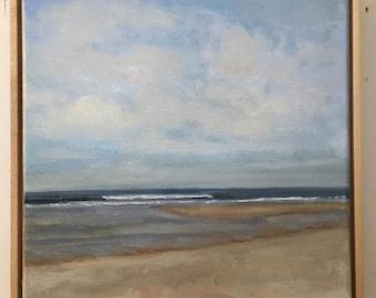 Coast Guard Beach Cape Cod / Original Oil Painting / Solid Maple Float Frame