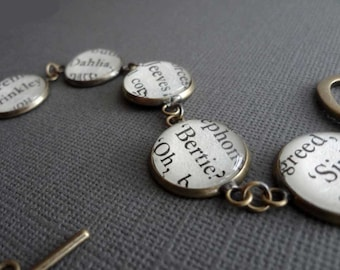 Jeeves and Wooster Bracelet, Wodehouse Fans, Gift for Mum, Book Lover's Gift, Bronze Bracelet