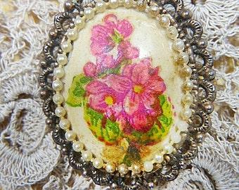 Vintage Handpainted Flowers Oval Brooch - BR-419 - Hand Painted Oval Brooch - Hand Painted Oval Floral Brooch