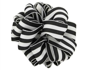 "2-1/2"" Black & White Wired Grosgrain Carnival / Mono Stripe Ribbon"