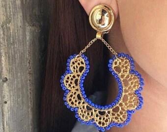 Gold Plated Filigram Statement Earrings