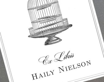 Birdcage Bookplate,Bookplate with Bird Cage,Victorian Birdcage, Set of 24