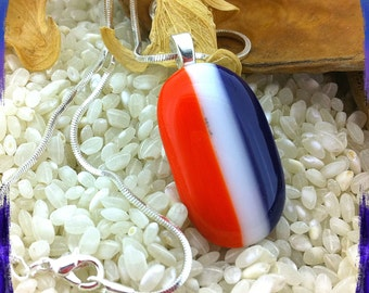 Fused Glass  Red White &  Blue Striped Pendant Silver Chain Necklace