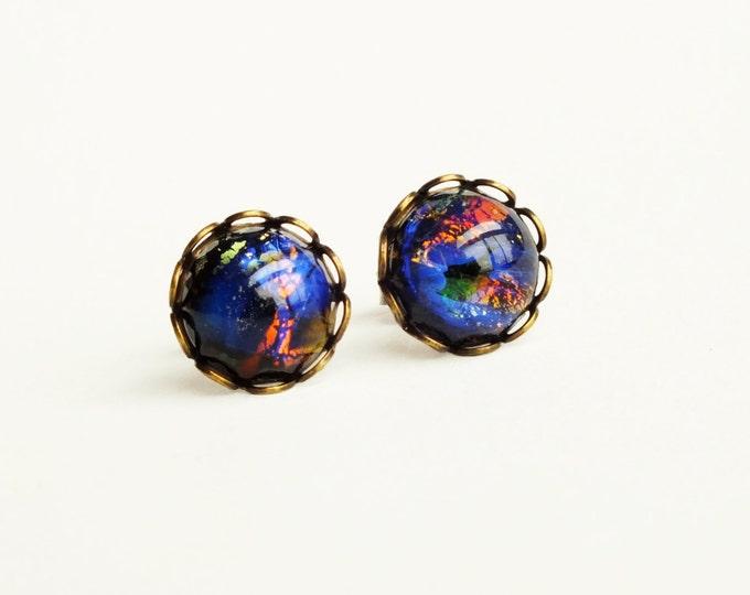 Black Opal Stud Earrings Opal Studs Vintage Glass Fire Opal Post Earrings Black Opal Earrings Hypoallergenic Black Opal Jewelry