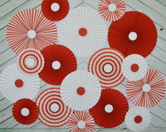 Red and White,  Vintage Circus, Carousel Inspired Set of Seventeen (17)  Paper Rosettes, Paper Fans Backdrop