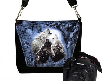 CLEARANCE Unisex Camera Bag Dslr Camera Case Canon Nikon Slr Bag for Men & Women, Wolf Wolves Howling Moon Messenger Bag blue black gray RTS