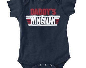 Daddys Wingman New Parent Baby Shower Gifts Funny Saying Baby Romper Bodysuit