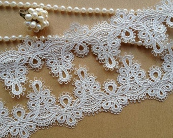 Delicate Floral Embroidered Bracelet Lace Off White Bridal Lace Trim By The Yard