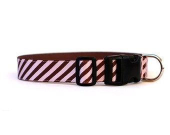 1 Inch Wide Dog Collar with Adjustable Buckle or Martingale in Power Tie in Chocolate and Strawberry
