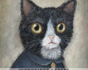 Genevieve Gypsy - cat art giclee print from animal portrait of black and white cat painting
