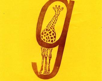 Giraffe G Monogram Linocut - Alphabet Typographic Lino Block Print with Animal - G is for Giraffe