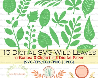 Wild Leaves SVG Bundle with Bonus Clipart & Digital Papers - cutting files for shirt design, party decor, tags, scrapbooking, paper crafting