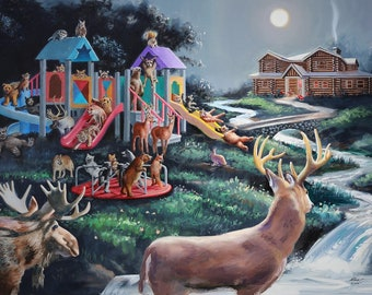 Animoon wildlife playground 36x48 fantasy oils on canvas by RUSTY  RUST / M-460
