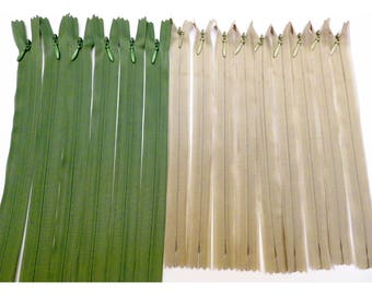 Lot 15 invisible YKK zippers Beige 22 cm and 35 cm Green