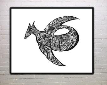 Catbird, Elsie Takes Flight, abstract, folk art,wall art, black and white print, fantasy, cat, bird, dinosaur, home decor, child's room