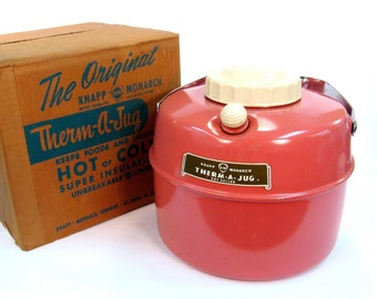 Vintage Therm-A-Jug by Knapp Monarch Coral Pink   / Hot or Cold Unbreakable Liner by Retroburgh