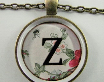 """Initial """"Z"""" Necklace -- Spring pattern Personalized Letter Z Necklace, Wedding Necklace, Bridesmaid Necklace, Hen Night Necklace, Friendship"""