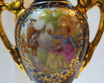 Beautiful Vintage Limoges Cobalt  Blue Signed Fragonard Courting Couple Vase