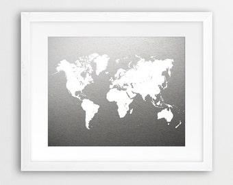 World Map Print, Grey Map Print, White World Map, White & Grey Art, Gradient Color, Grey Wall Art, Nursery Art, Office Decor, Printable Art