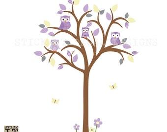 Owl tree wall decal, Owl tree wall sticker, Owl Nursery wall Art, owl wall decal, nursery wall decal, Tree Wall Decal, Molly Design