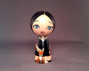 Cute Goth Witch with foxes Kokeshi Peg Wooden Doll