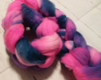 Hand Dyed Spinning fiber-Superwash Merino/Nylon-100g-90's Baby